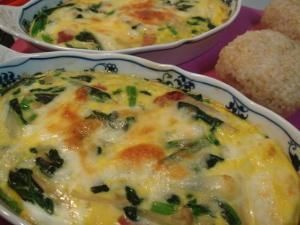 「ほうれん草のふんわりキッシュ 簡単計量」卵と同量の牛乳で簡単☆トースターでも作れます。【楽天レシピ】