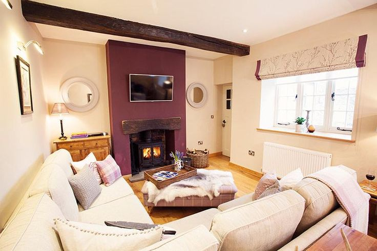 A huge sofa in-front of the log fire, with Internet TV, Blu-ray player and lots of space for relaxing.