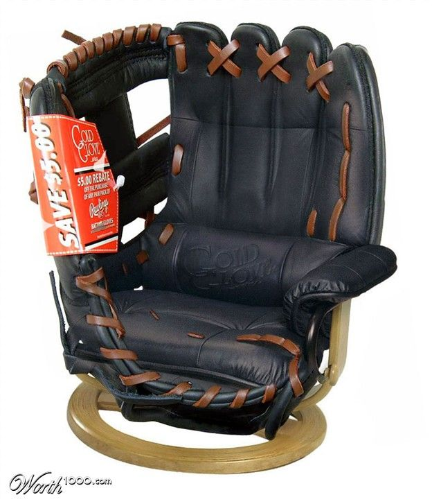 baseball glove chair. Think all my friends should take up a collection and buy this for my b-day!!! 3months & 11 days