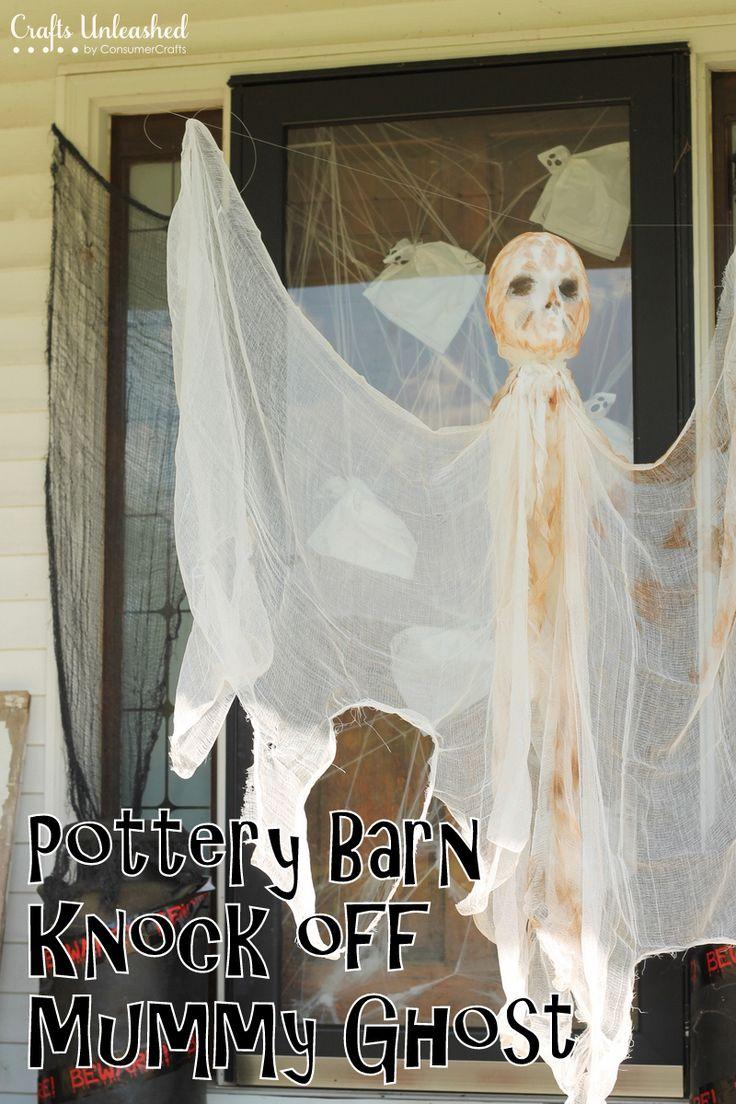 DIY Outdoor Halloween Decorations: Hanging Mummy Ghost