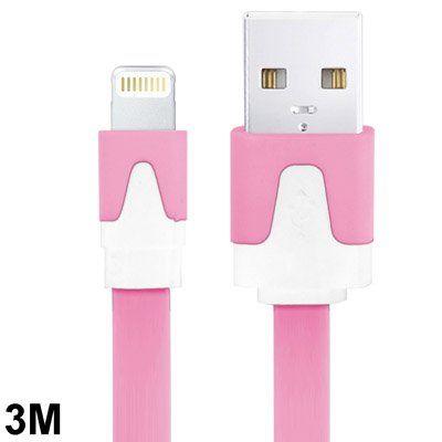 Kleurrijke 8 pin lightning naar USB kabel, 3 meter, roze/wit