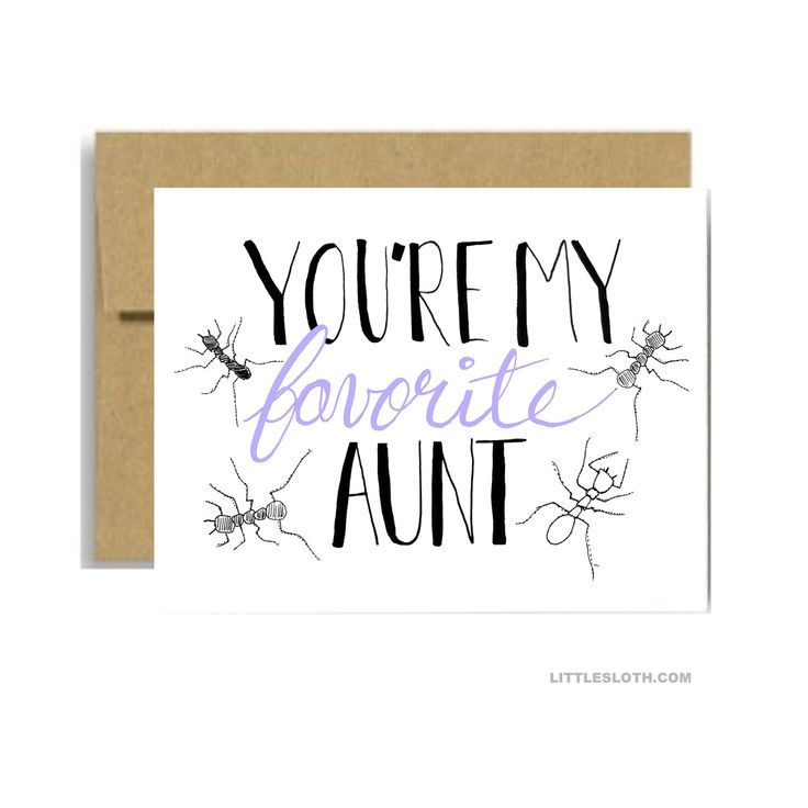 My favorite aunt card - ant pun punny lavender greeting card mothers day for aunt card - white a2 aunt birthday card by LittleSloth on Etsy