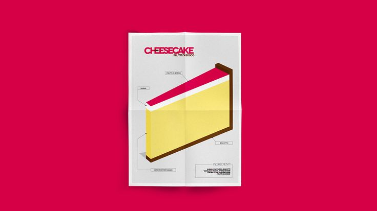 Minimal cake design a series of posters representing the some of the most famous cakes. It was selected for a cookbook where recipes were represented through a graphic design poster: Spollo Kitchen