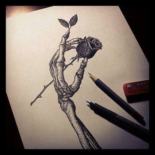 Skeleton hand holding rose tatt sketch