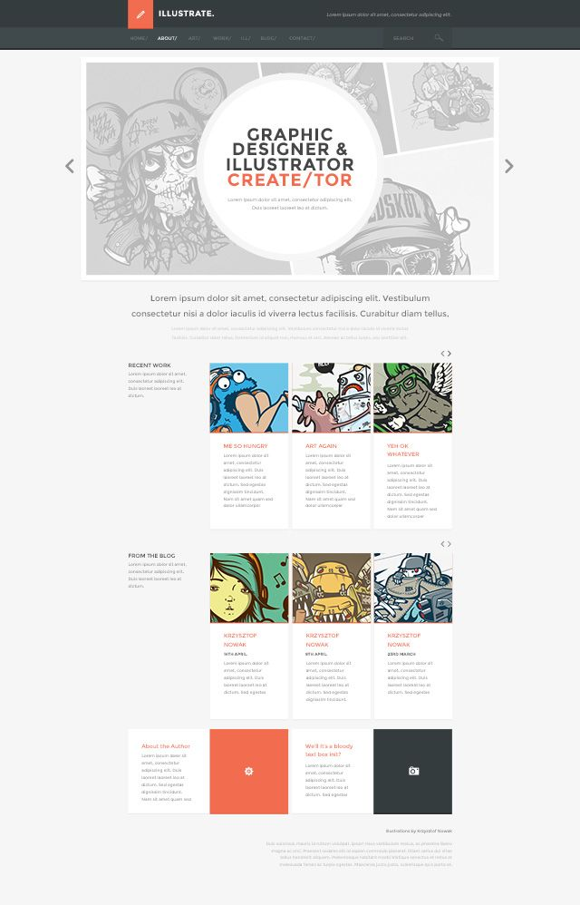New WordPress Theme - illustrate! - Free PSD Web Design Templates