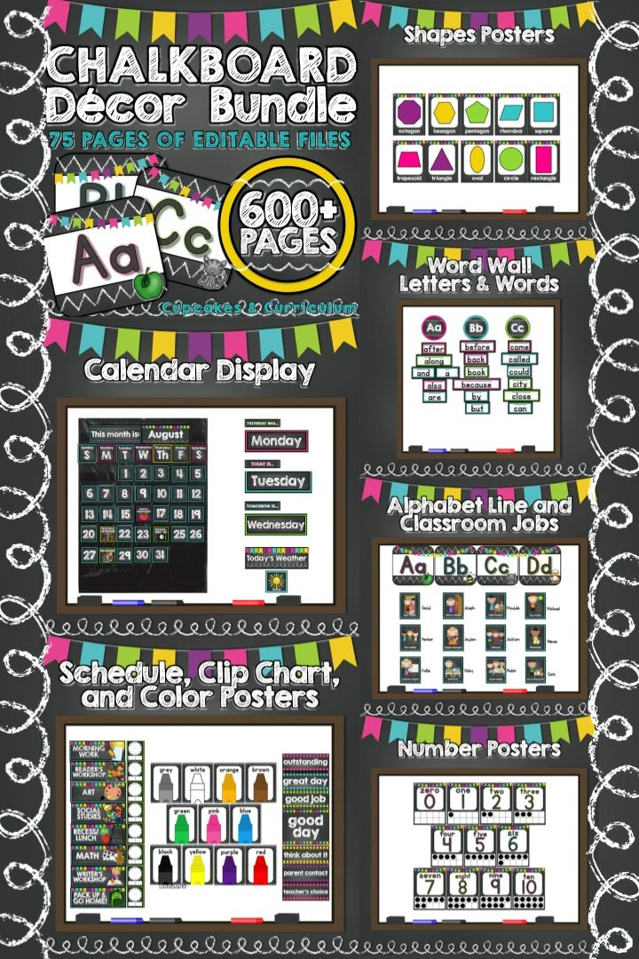 New teacher? Need a change of scenery?  EVERYTHING (seriously) you need is included in this 738+ page resource of pre-made and EDITABLE classroom decor files with a colorful chalkboard theme! [Cupcakes & Curriculum]