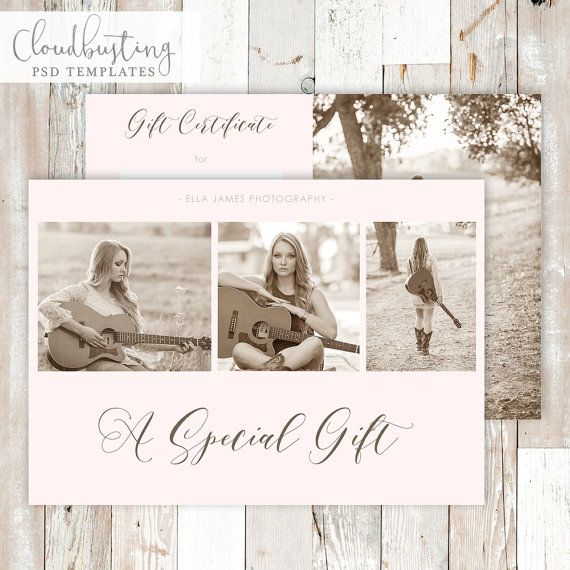 Photography Gift Certificate Card - Customizable Photoshop Template - https://www.etsy.com/listing/285414525