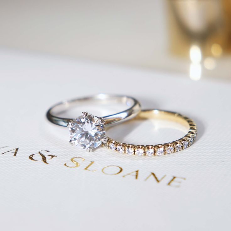 The Claw Set Diamond Band shown with The Sloane Setting. Naveya & Sloane wedding band and engagement ring, made to order in Auckland, New Zealand.