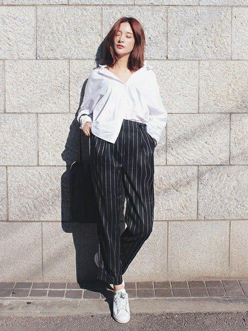 ゆったりサイズのマニッシュなパンツもハイウエストだとスタイルよくすっきり決まっちゃうから不思議! ハイウエストスカート・パンツ スタイル ファッション コーデ♪