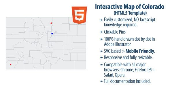 Interactive Map of Colorado . Interactive has features such as  High Resolution: Yes, Compatible Browsers: IE9, IE10, IE11, Firefox, Safari, Opera, Chrome, Software Version: HTML5