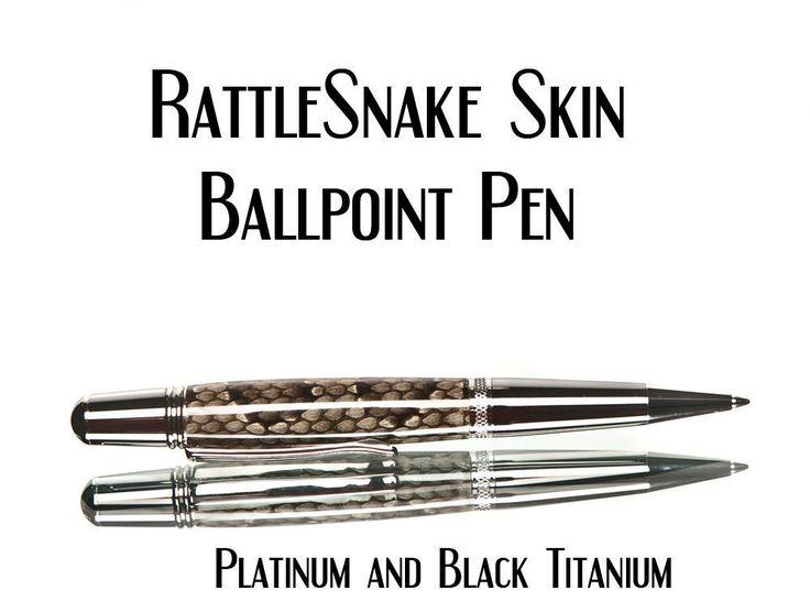 Rattlesnake pen, ballpoint made from real snake skin, custom made, gift for a guy  #handmade #trobeepens #custompens