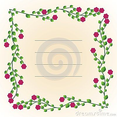 Decorative text frame with flowers and leaves