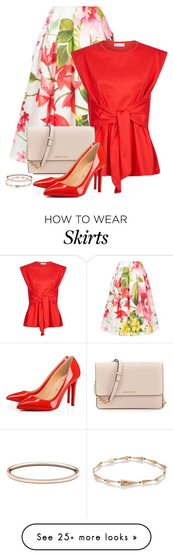 """""""Red shoes contest"""" by mindy-2-1 on Polyvore featuring Bambah, Sandro, Christian Louboutin, Eva Fehren, Spring, contest, fashionset and 2018"""