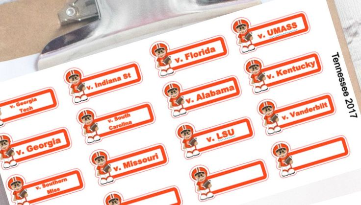 Tennessee football schedule planner stickers (Vols Volunteers) by ImagineThatbyLori on Etsy https://www.etsy.com/listing/270971368/tennessee-football-schedule-planner
