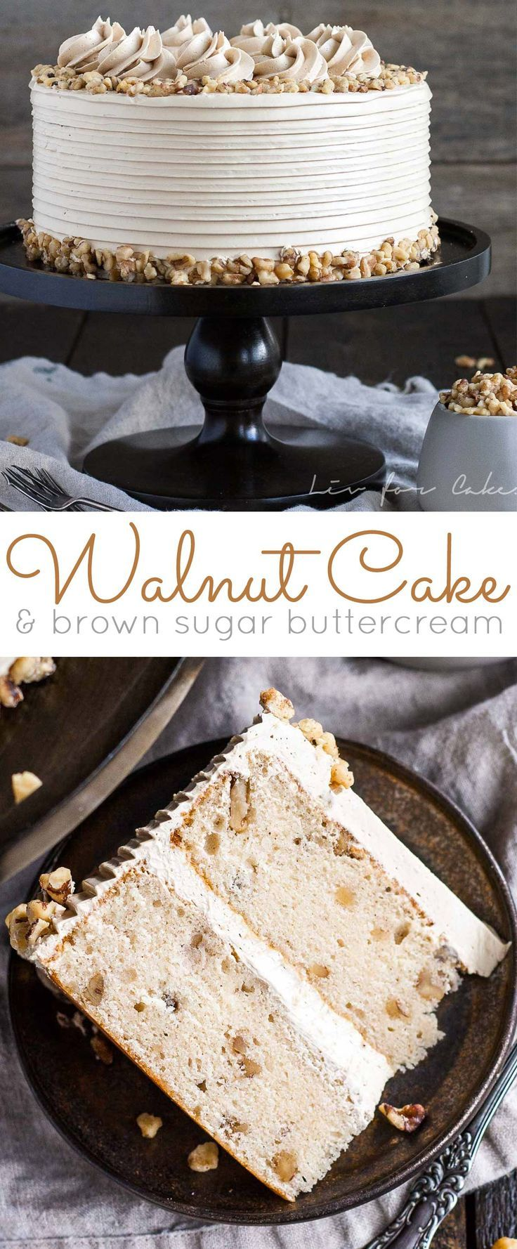 This toasted walnut cake with brown sugar buttercream is the perfect cake for the holidays. | http://livforcake.com