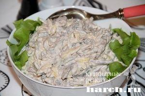 Салат из говядины с яичными блинчиками Мясной этюд