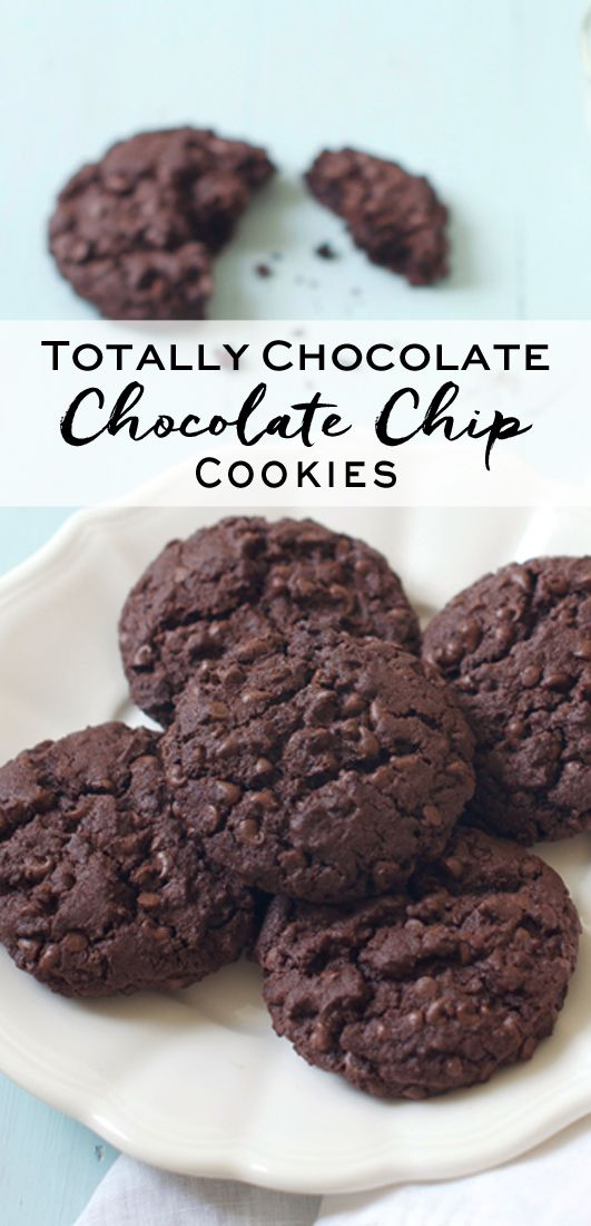 Totally Chocolate Chocolate Chip Cookies. Adapted from Nigella Lawson | eatlittlebird.com