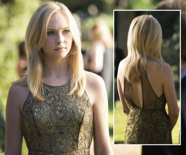 Caroline's gold lace dress on The Vampire Diaries.  Outfit Details: http://wornontv.net/7271/ #TheVampireDiaries