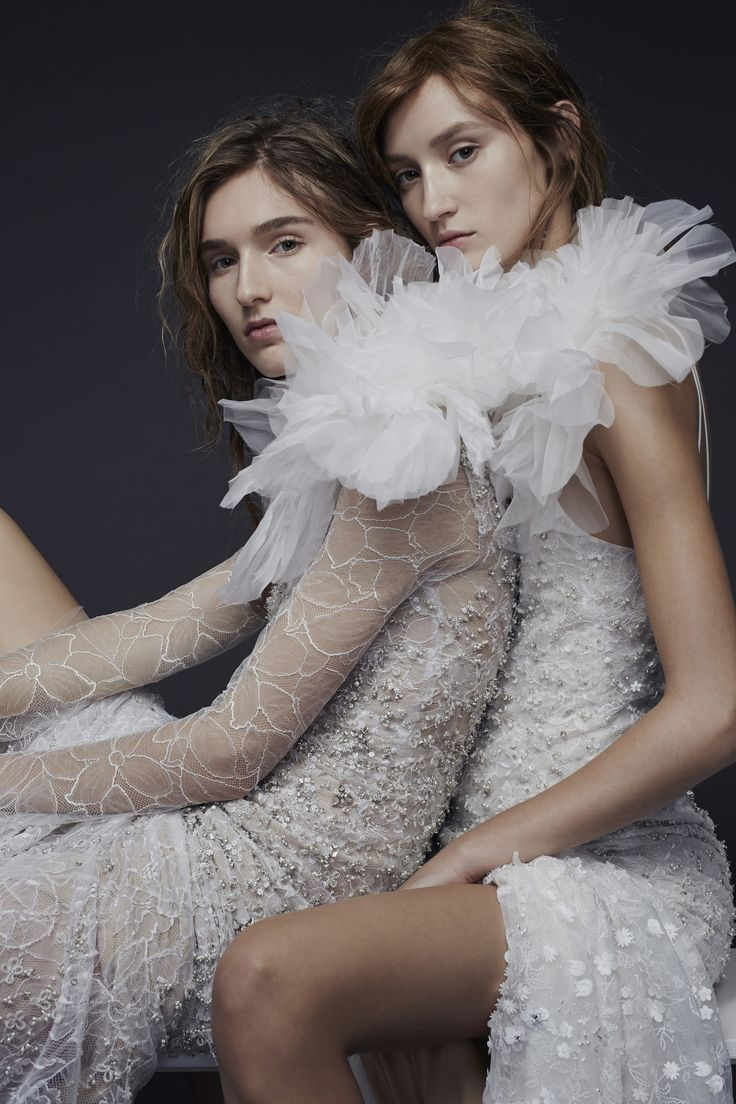 LOOK 2 (RIGHT). Light ivory lingerie strap chantilly lace gown with hand applique chantilly lace detailed by satin floral and crystal embroidery plus large silk flower accent at neck