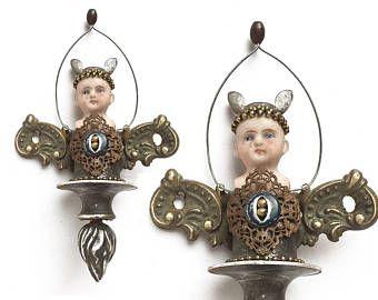 steampunk art, industrial firefly, mixed media original assemblage art, handmade Christmas ornament, altered art doll by Elizabeth Rosen
