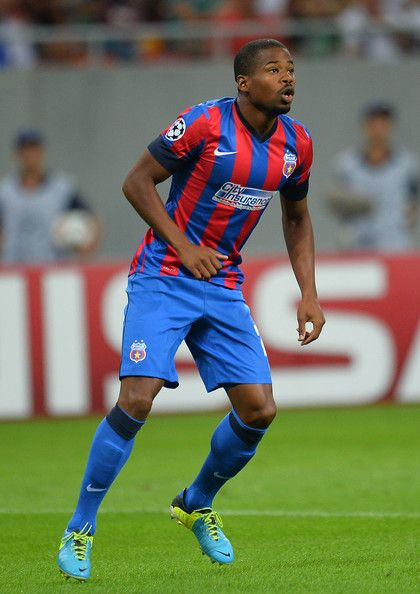 Nicado Breeveld of FC Steaua Bucuresti in action during the UEFA Champions League first leg play-off match against between FC Steaua Bucuresti and PFC Ludogorets Razgrad on August 19, 2014 in Bucharest,Romania .