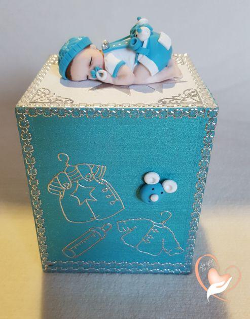 Tirelire bébé garçon shun bleu et blanc -  au coeur des arts - Enfants - Au coeur des Arts
