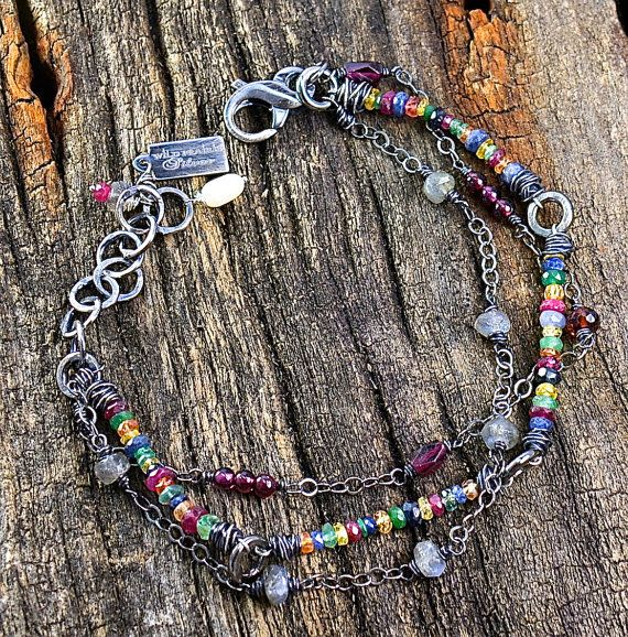 Sterling Shire Gemstone Three Strand Bracelet Handmade Wild Prairie Silver Jewelry Beautiful Array Of Gemstones One The Is