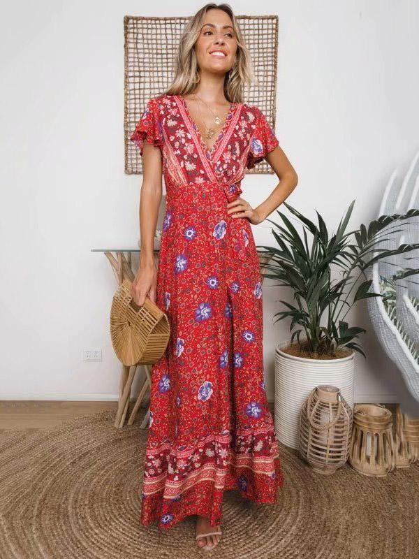 d5fbc8cb275 Lace-up V-neck Printed Maxi Dresses