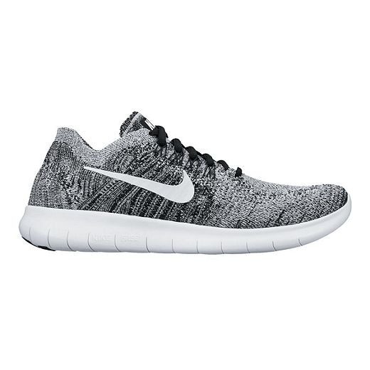 Nike Women's Free RN FlyKnit 2017 Running Shoes - Black/White Pattern