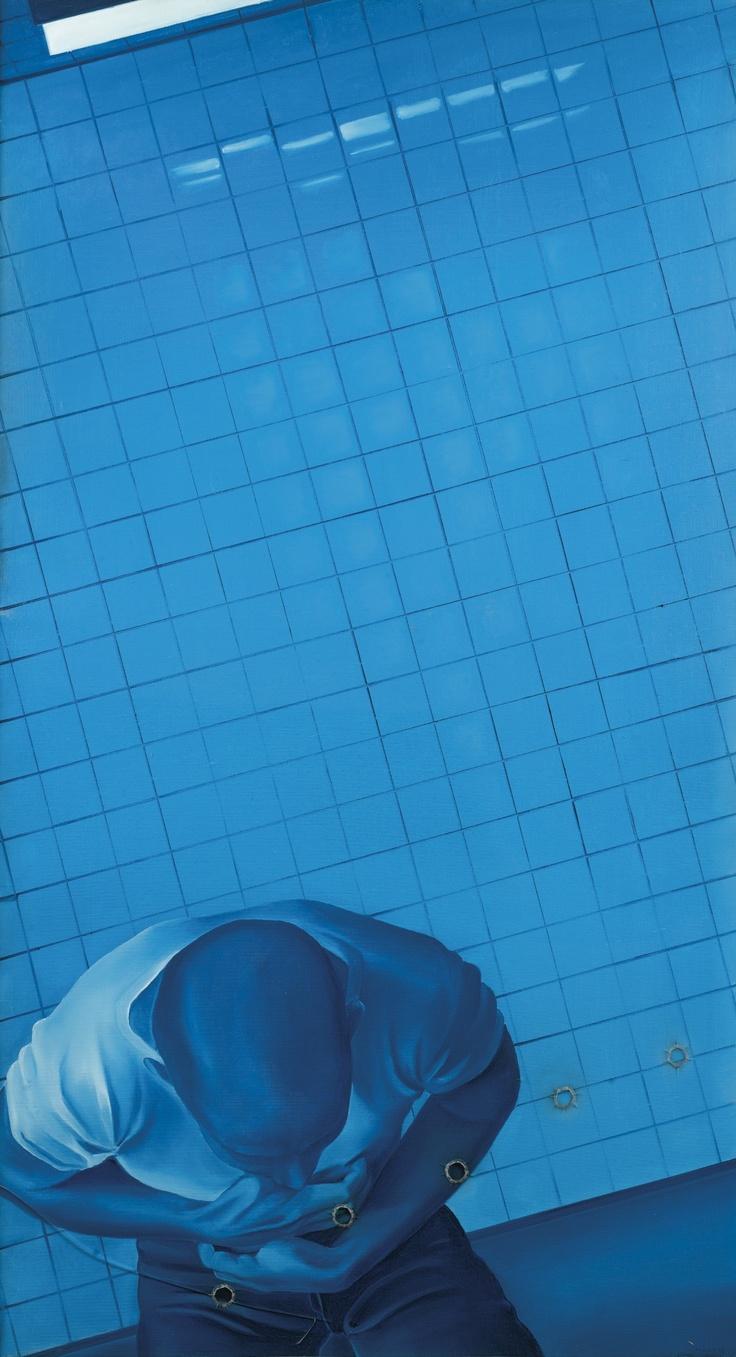 JACQUES MONORY N. 1934 MEURTRE N°VI SIGNED, INSCRIBED N°310/5 AND DATED 1968 ON THE BACK; OIL ON CANVAS AND PLEXIGLASS IN AN ARTIST METAL FRAME. signé, inscrit N°310/5 et daté 1968 au dos huile sur toile, plexiglas et cadre en métal de l'artiste 119,5 x 65,5 cm