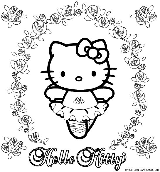 hello kitty coloring page with many lovely roses and hello kitty as a balerina free printable hello kitty coloring pages - Kitty Printable Color Pages