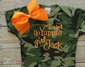 Duck Dynasty Baby Girls Camo Bodysuit and bow  - I Aint No Yuppie Girl Jack - Si - Camouflage - Creeper - Hunting - Cajun - Country