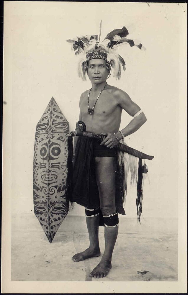 malaysia Borneo Sarawak DAYAK Armed Warrior (1930s)
