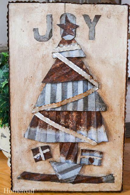 Corrugated metal Christmas tree