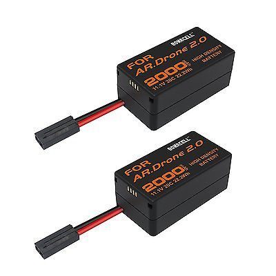 ﹩29.90. 2pcs Upgrade 2000mAh Lithium-Polymer Battery for Parrot AR Drone 2.0 Quadcopter    Compatible Compatible Series - Replacement Battery for Parrot AR.Drone 2.0, Chemical Composition - Lithium-Polymer, Capacity - 2000mAh, Voltage - 11.1V, UPC - 602463990654