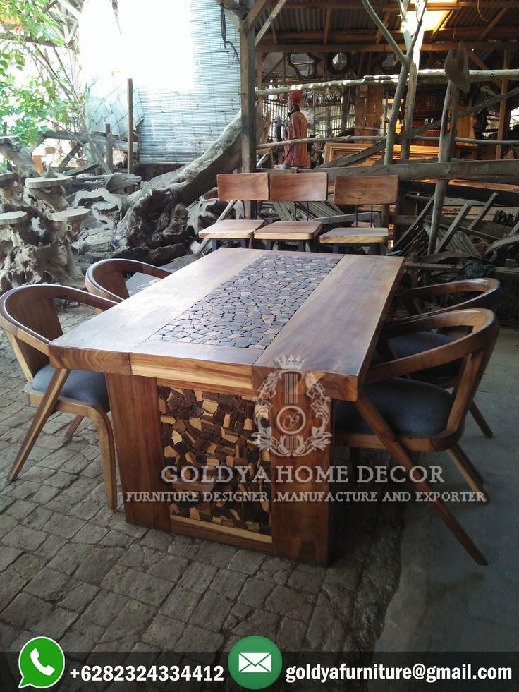 #setmejamakan modern designs buatan pengrajin #mebeljepara dengan menggunakan bahan material kayu #trembesi berkualitas kini tersedia di GOLDYA HOME DECOR solusi tepat furniture mewah anda.