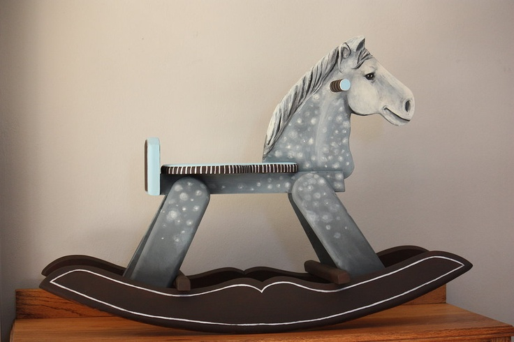 This dapple gray rocking horse is one of a kind. It is something unique and precious that will become an heirloom.  A wooden horse made with love and hand painted to be your very own beautiful and loyal steed.  An object with true character: this rocking horse will be the prefect addition to any nursery or bedroom.  It has been painted with non-toxic durable paint and is sturdy and safe. Suitable for children from 1 to 4 years old, with adult supervision.