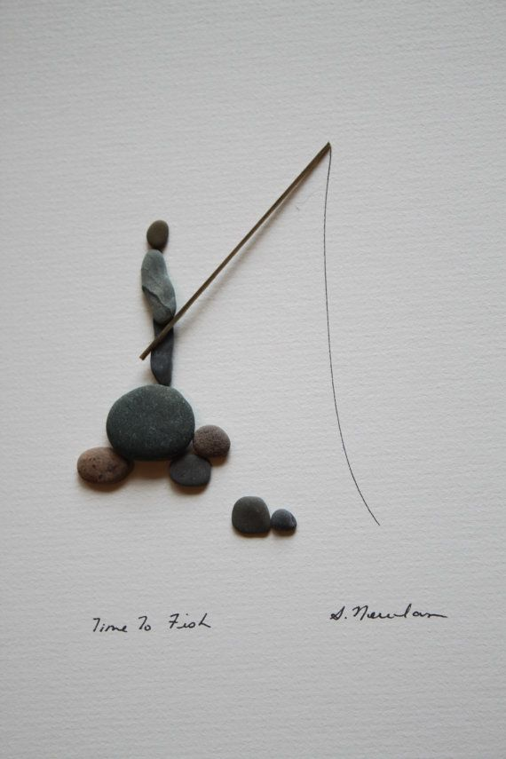 8 by 10 Original Pebble Art By Sharon Nowlan Comes, signed, matted and framed with glass and archival materials.