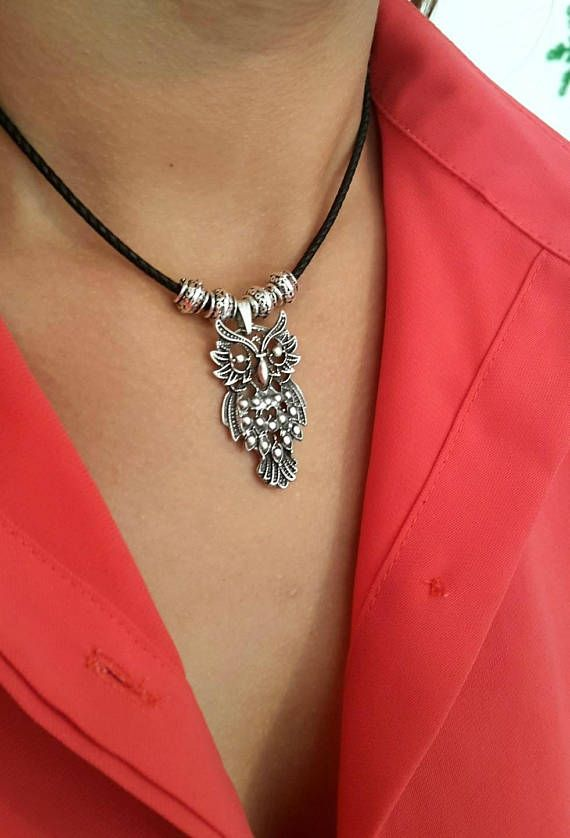 Owl Jewelry Bohemian Statement Necklace Boho Necklace