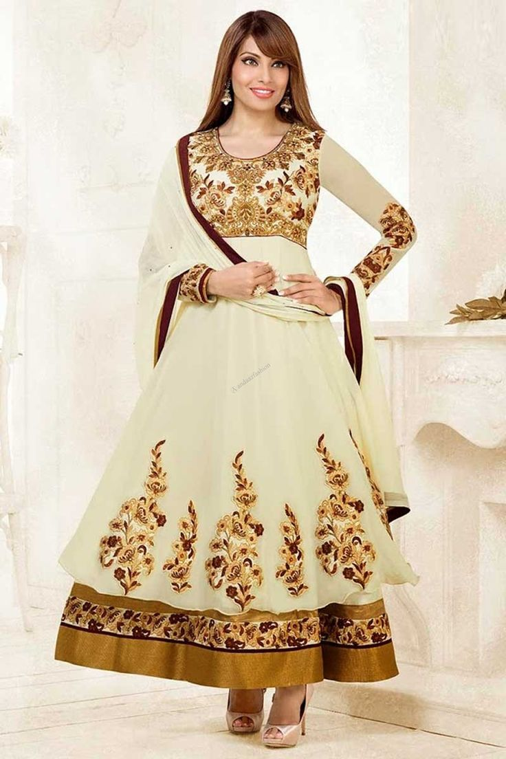 This is perfect Bollywood Collection Suit Cream Georgette Anarkali Churidar suit Cream dupatta Emblished with Resham,Zari,Zircon U Neck Kameez Full Sleeve Kameez Party,Wedding,Bridal,Festival,Ceremonial Dresses with price $123.45  http://www.andaazfashion.com/womens/lehenga-choli/occasion/wedding-wear-lehenga-choli