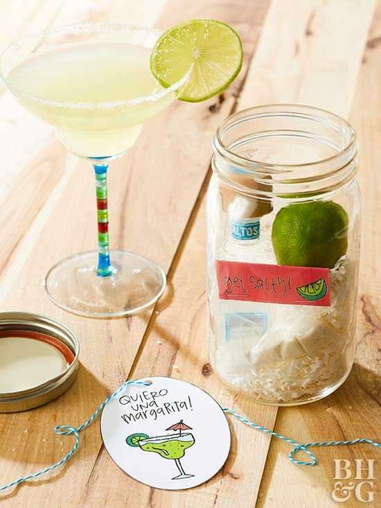 The key to a great margarita? Tequila—and these adorable gift tags! Gift the perfect marg! All you need is fresh lime, tequila, mix, and salt. Simply shake right in the jar and serve. No vacation needed.