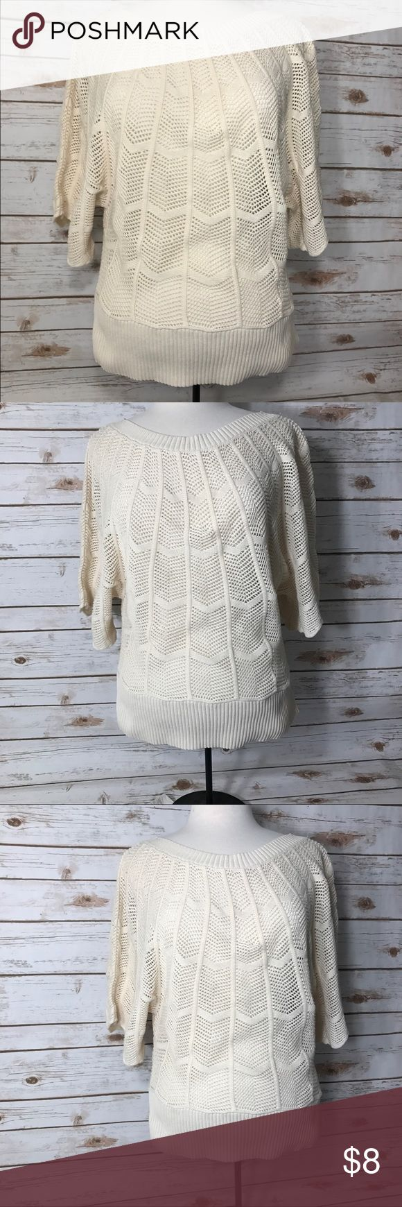 "Anne Taylor Loft crochet sweater Cream Anne Taylor Loft long Bat winged sleeve crochet sweater. Size medium good condition. Measurements for flat lay: Shoulder to Shoulder (11.5"") Armpit toArmpit (17"") Top to Bottom (23.5"") anne taylor loft Tops Sweatshirts & Hoodies"