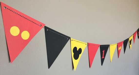 Mickey Mouse Banner/Birthday Party/Mickey Mouse Clubhouse/First Birthday/Minnie Mouse, Red, Yellow, Black