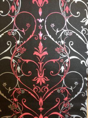 Caselio Floral Textured Vinyl Black Wallpaper 5284