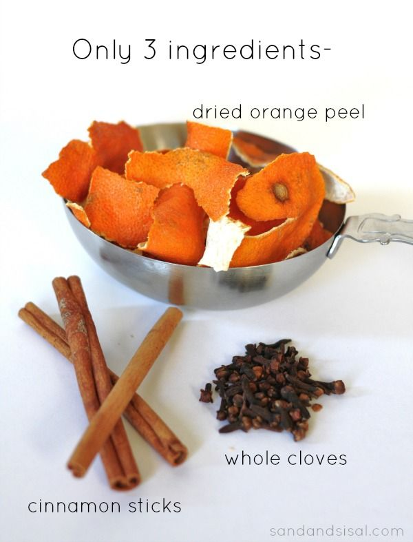 ingredients for simmering potpourri -Only 3! Cinnamon sticks, whole cloves, dried orange peel