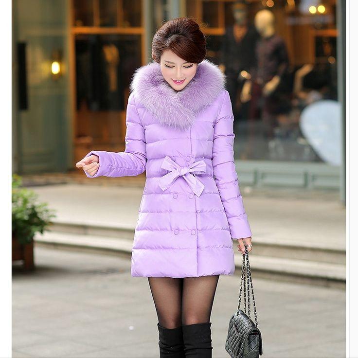 Down coat fox large fur collar medium-long plus size slim thickening bow women's outerwear down coat alishoppbrasil
