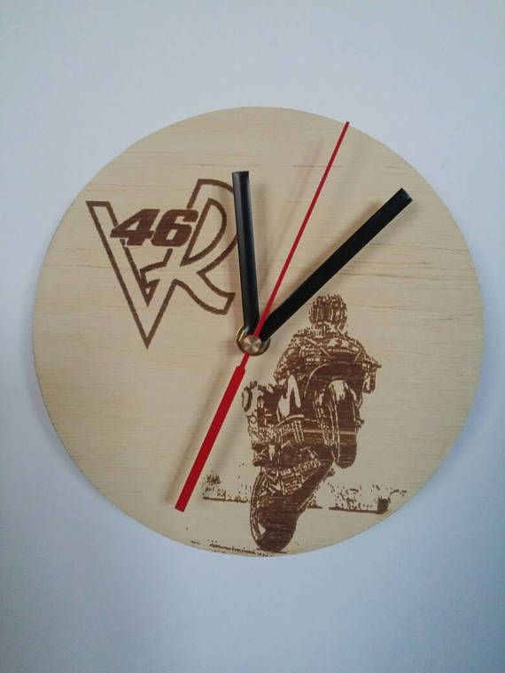 Check out this item in my Etsy shop https://www.etsy.com/listing/537988987/wooden-wall-clock-moto-gp-valentino