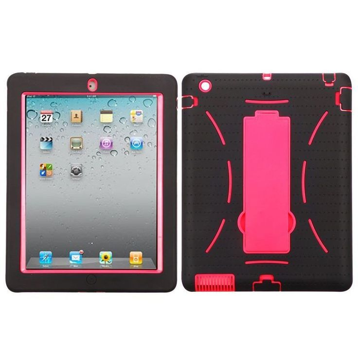 Insten / Hot Pink Symbiosis Soft Silicone/ PC Dual Layer Hybrid Case Cover For Apple iPad 2/ 3/ 4 with Retina display