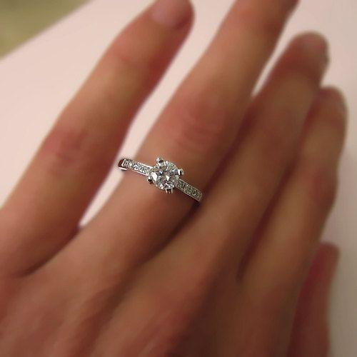 Ronde geslepen diamant verlovingsring 14k witgoud of door ldiamonds