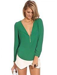 moda v cuello de la gasa de la camiseta de las mujeres